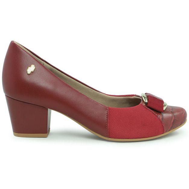 Scarpin vermelho bico redondo 33