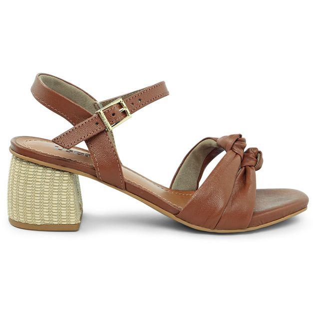 Sandália marrom com tiras e nó 34