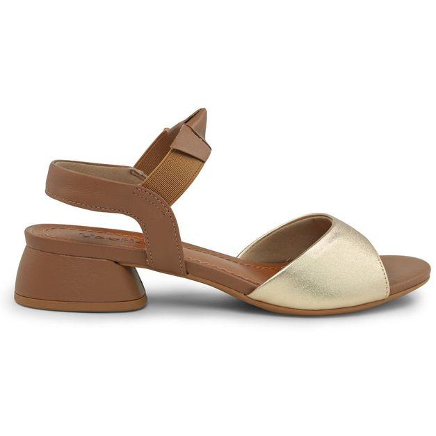 Sandália bicolor com elástico 34