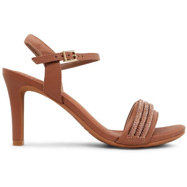Sandália salto alto marrom 34