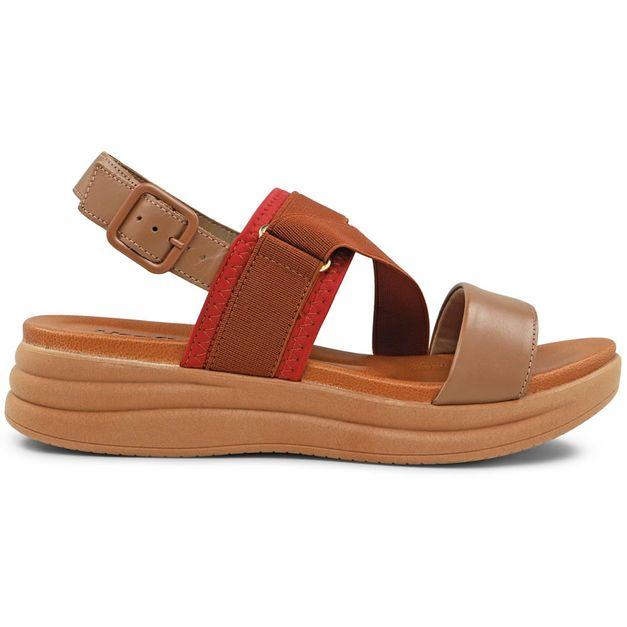 Sandália marrom com vermelho 33