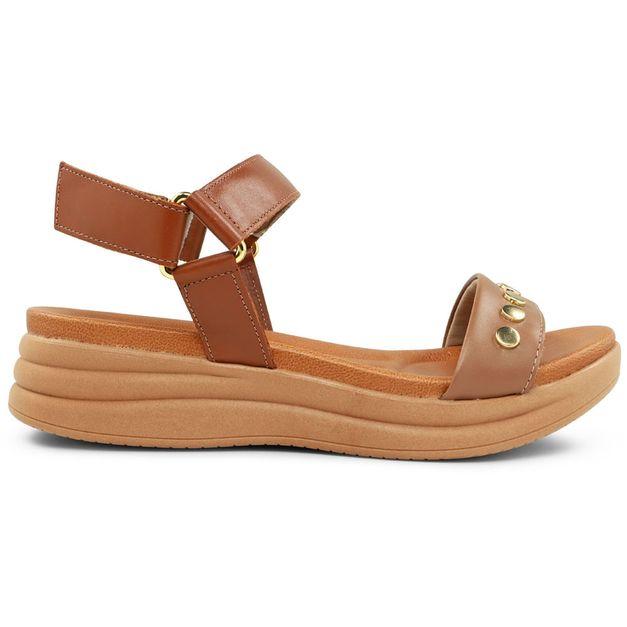 Sandália marrom com enfeite 34