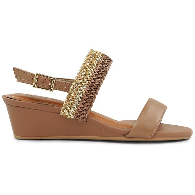 Sandália trançada anabela marrom 34