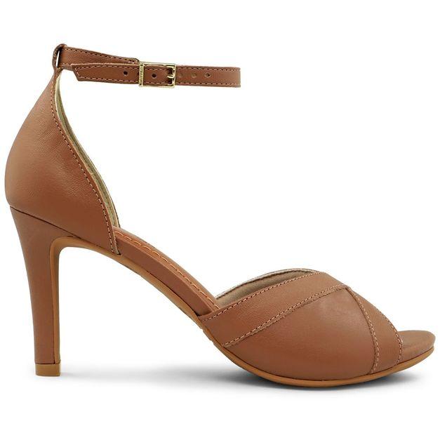 Sandália marrom salto fino 34
