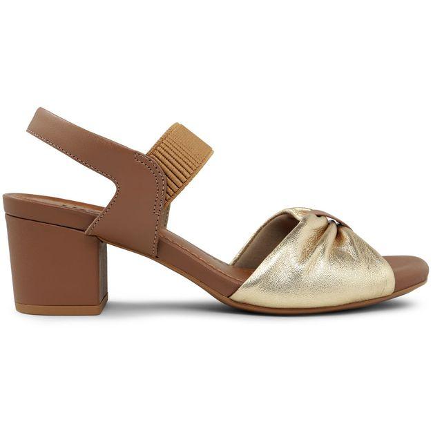 Sandália marrom salto médio 33