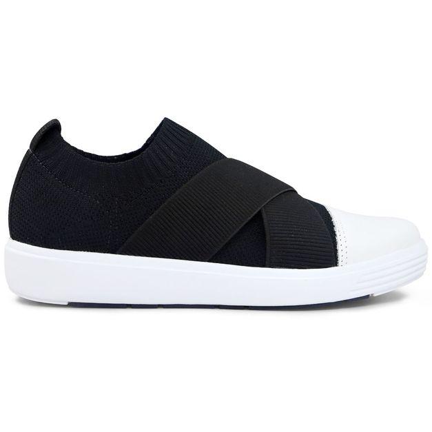 Sneaker tricot preto tiras elástico 33