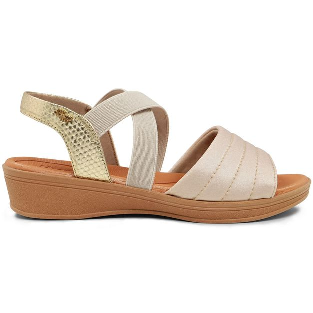Sandália bicolor com elástico 33