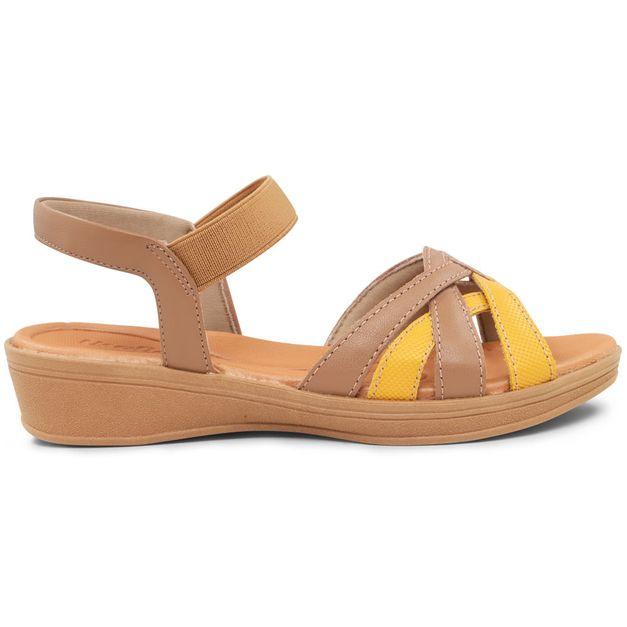 Sandália marrom com amarelo 35