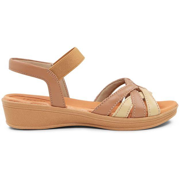 Sandália marrom com bege 35