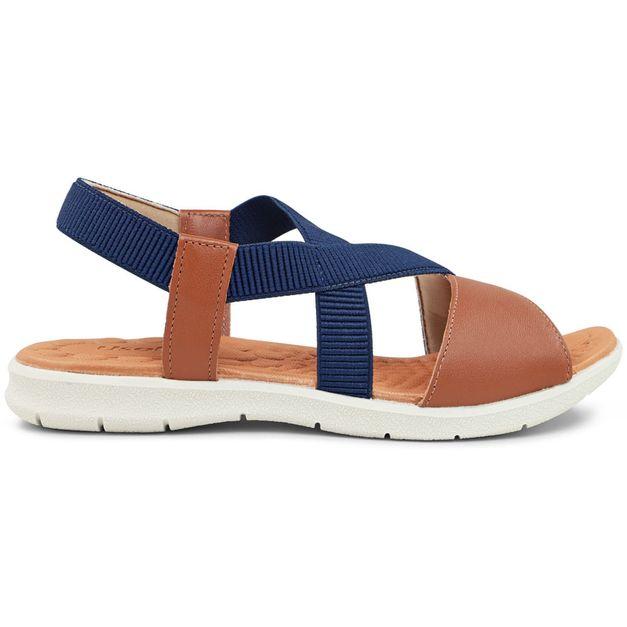 Sandália tiras marrom e azul 33