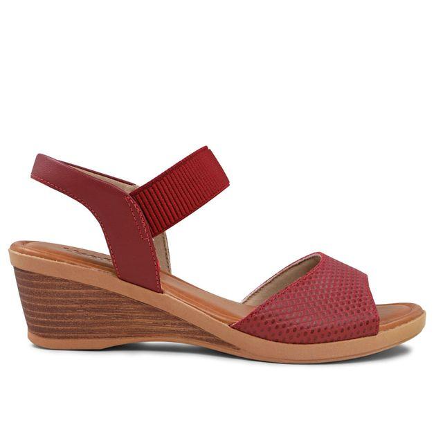 Sandália escamado vermelho rebu 33