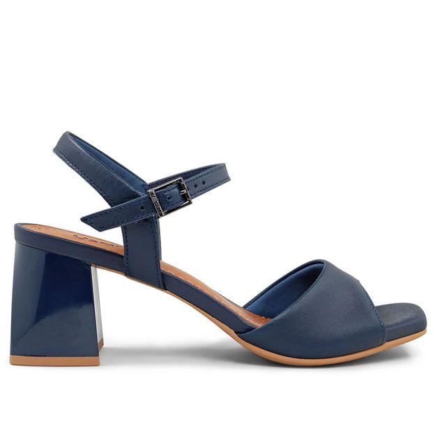 Sandália azul salto grosso 33