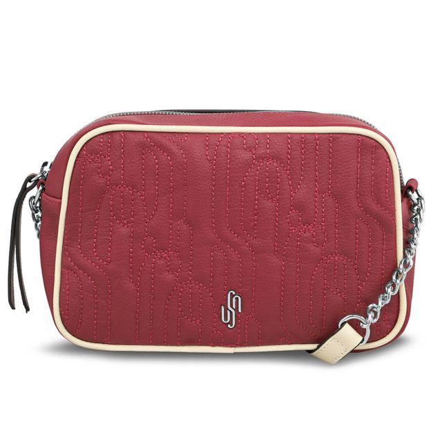 Bolsa tiracolo bordado matelassê vermelho