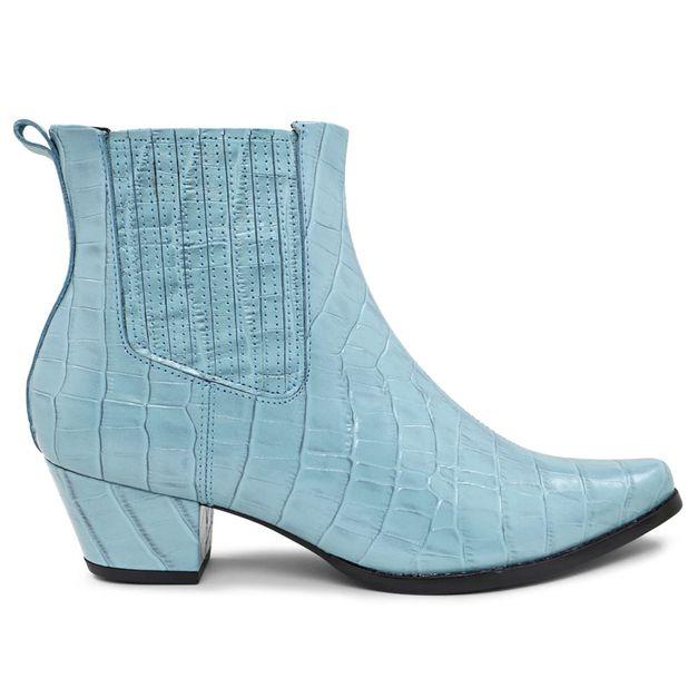 Bota western croco azul claro 33