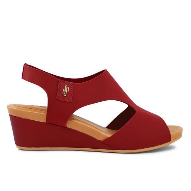 Sandália anabela elastano vermelho 33