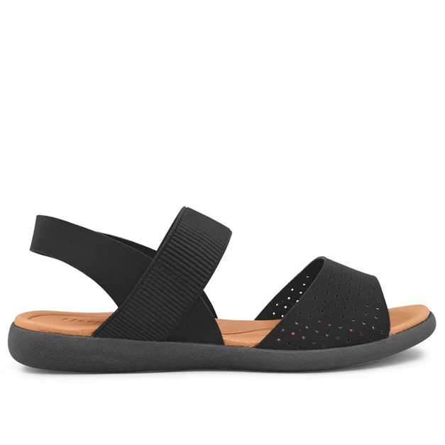 Sandália preta com elástico e elastano 33