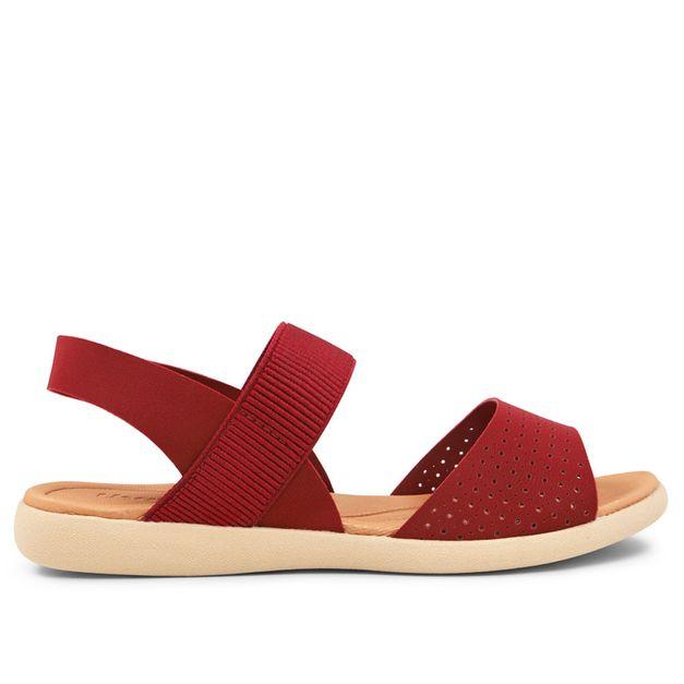 Sandália vermelha com elástico e elastano 33