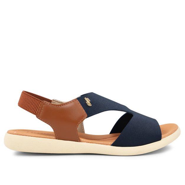 Sandália marrom e azul em elastano e couro 34
