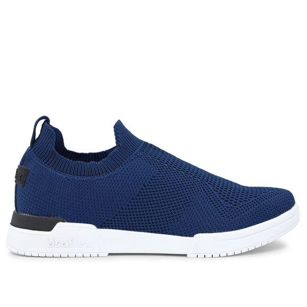 Tênis tricot azul sem cadarço 33