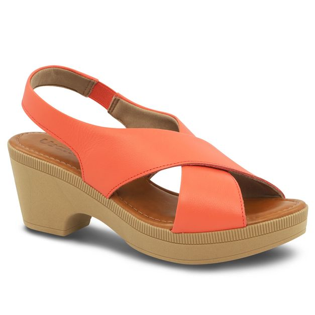 Sandália anabela coral 34