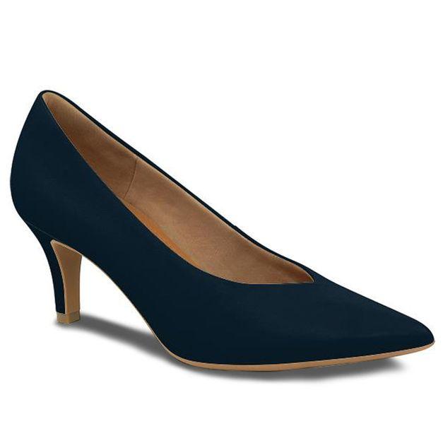 Scarpin bico fino azul 35