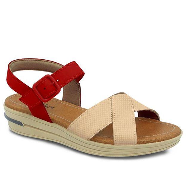 Sandália blush com carmim 35