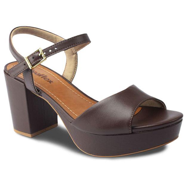 Sandália chocolate salto alto 38