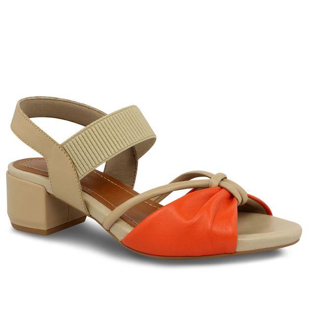 Sandália laranja com blush 34