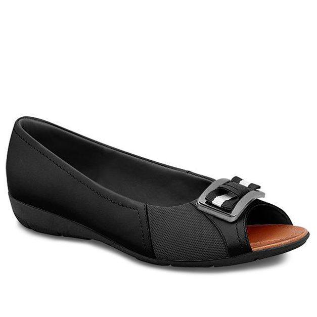 Peep toe preto com enfeite 33