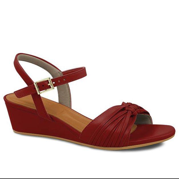 Sandália macramê vermelha 35