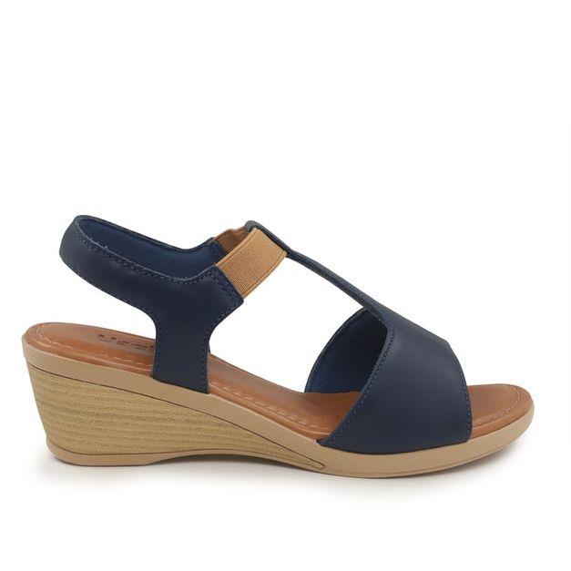Sandália azul anabela 34