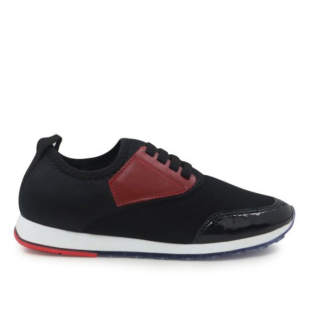 Tênis tecido preto com vermelho 34