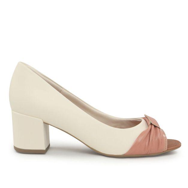 Peep toe bicolor pérola e quartzo 34