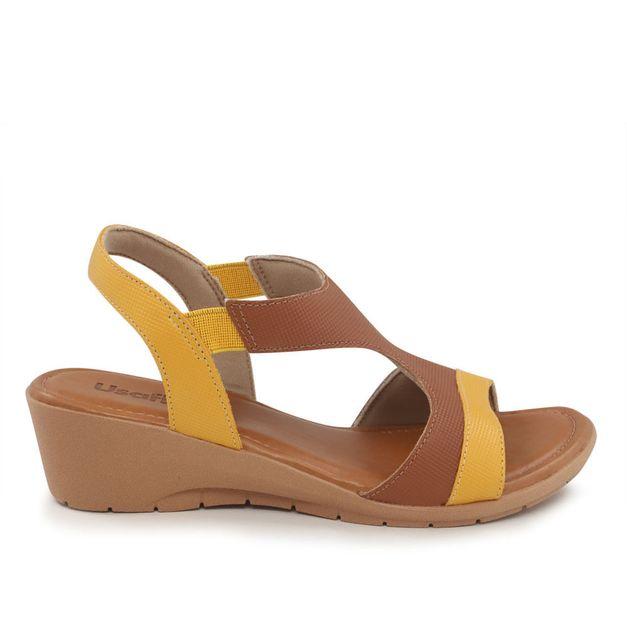 Sandália amarela com marrom salto anabela 35