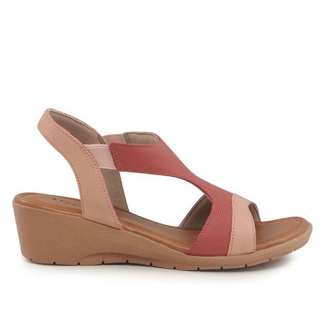 Sandália rosa e vermelho salto anabela 33