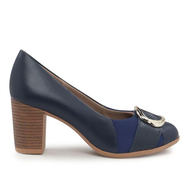 Scarpin azul com fivela 35