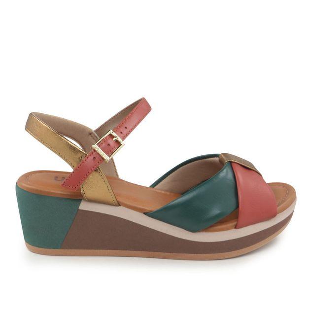 Sandália com tiras vermelho, verde e bronze 34