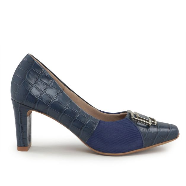 Scarpin croco azul 33