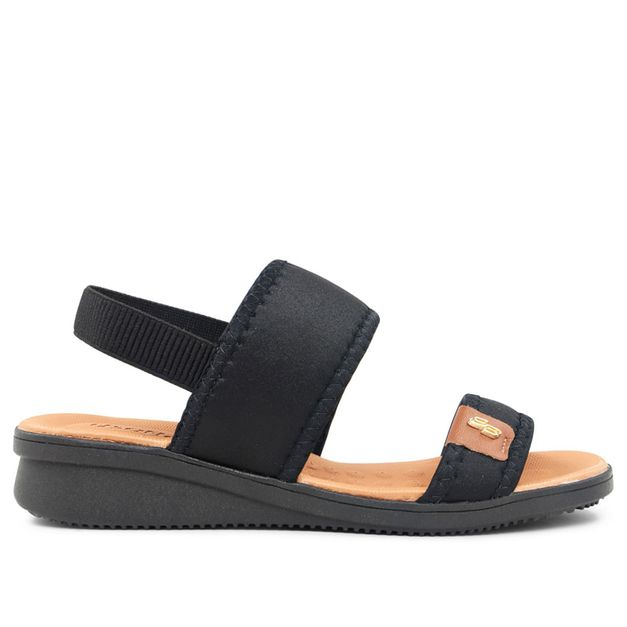 Sandália de tiras preta e salto anabela 33