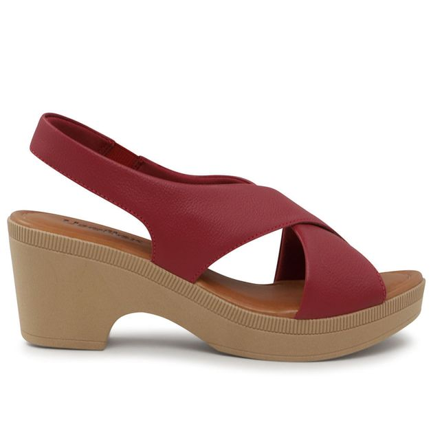 Sandália anabela vermelha 36