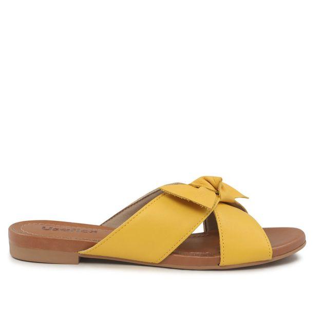 Rasteira em couro amarelo 33