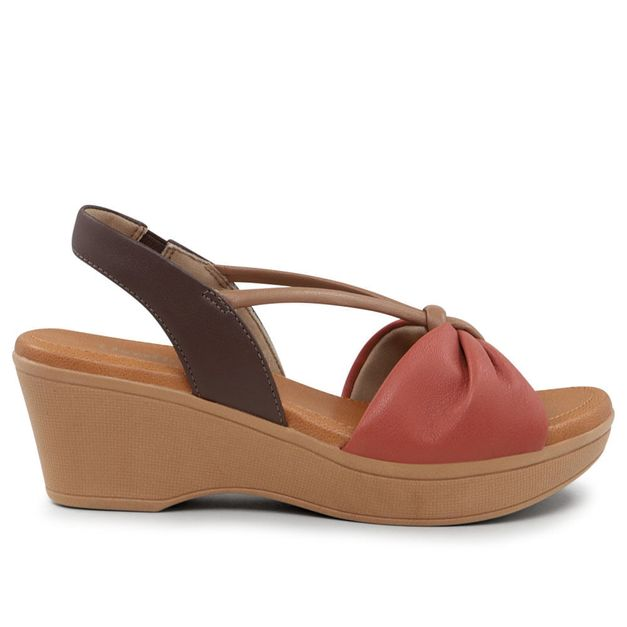 Sandália salto anabela vermelho e marrom 34
