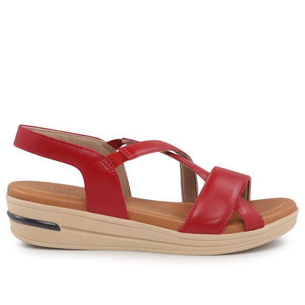 Sandália de tiras vermelho carmim 34