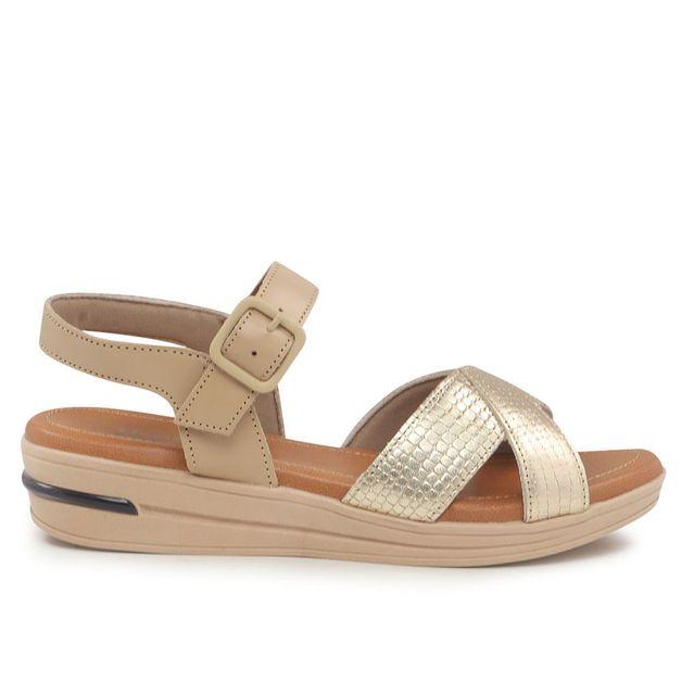 Sandália bicolor com fivela 34