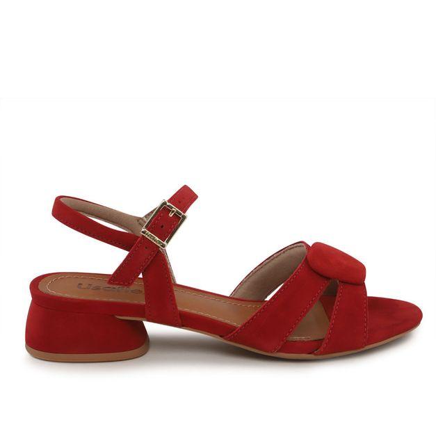Sandália camurça vermelho carmim 33