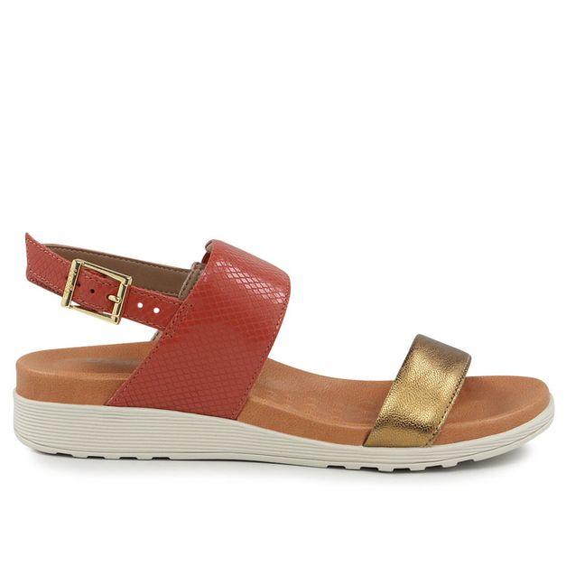 Sandália bronze com vermelho 33