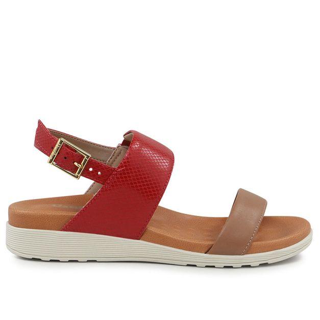 Sandália marrom com vermelho 35