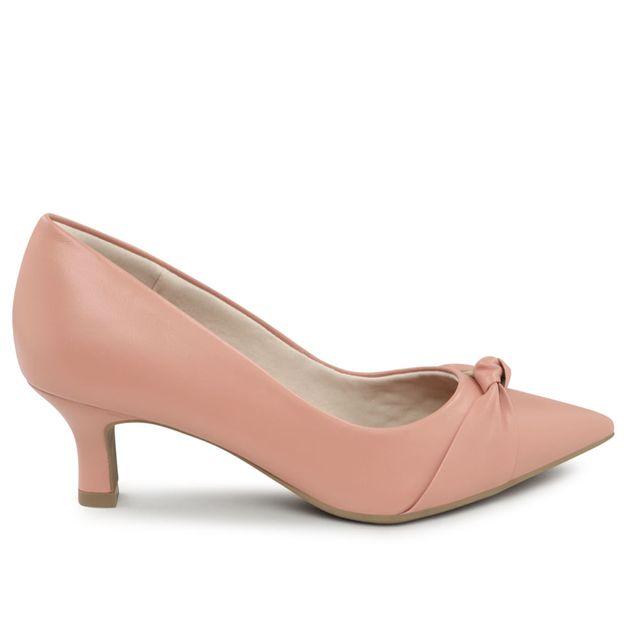 Scarpin rosa quartzo com nó 34