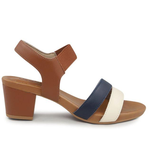 Sandália tiras marrom e azul 35