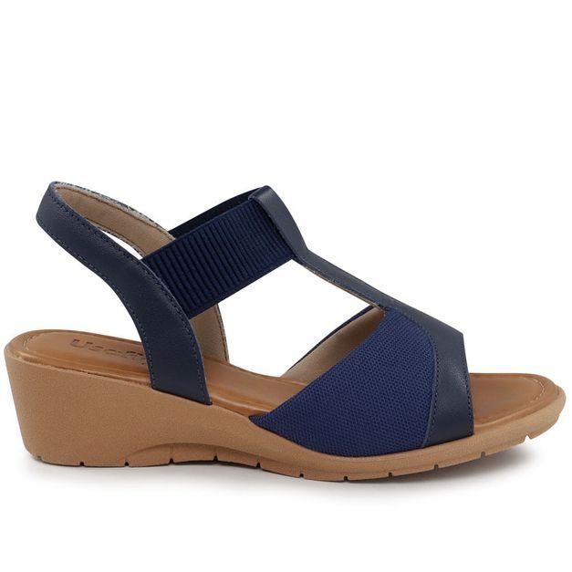 Sandália anabela azul 34